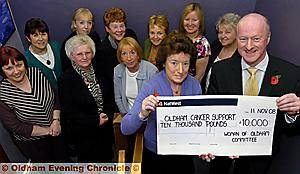 FANTASTIC . . . pictured at the cheque presentation (from the left) are Anne Sankaran (chairman) and Chris Hoyle from Oldham Cancer Support Centre, with other committee members