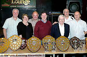 WINNERS in the Oldham Independent Log End League are pictured, left to right: Colin Howles (Black Diamond), Mary Bryson (Oldham Passenger Transport), Eric Albiston (Royal Oak), Alan Brown (Royal Oak), Peter Hunsley (chairman and secretary), Mick Royales (Druids Arms), Ray Wiseley (Royal Oak). 