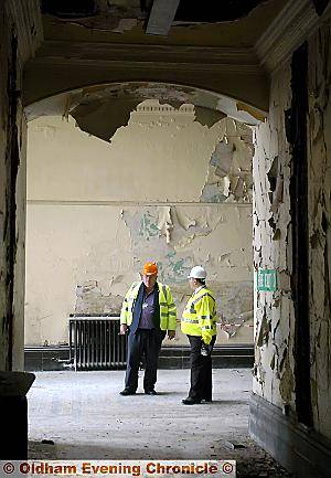 Council leader Howard Sykes, left and Steve Cooper, manager of the Corporate Property department, survey the decay.