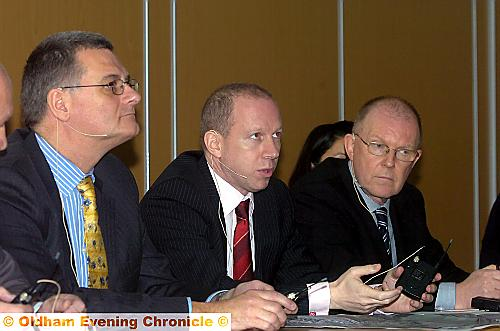 All ears . . . from left director Ian Hill, owner Simon Corney and chief executive Alan Hardy