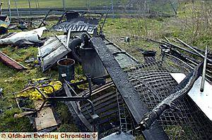 WRECKAGE . . . equipment valued at £5,000 was destroyed