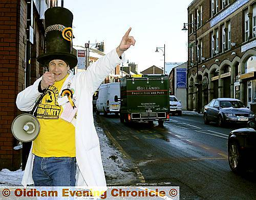 "POUNDING the streets . . . Nick ""The Flying Brick"" Delves is bidding to represent the Monster Raving Loony Party"