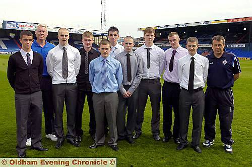 ATHLETIC'S CLASS OF 2010: Daniel Bell (left), Tony Philliskirk (head of youth development), David Mellor, Alex Parkes, Ryan Burns, Kyle Riley, Sam Fitzgerald, Dale Connor, Carl Winchester, Jack Laird, Mick Priest (coach).