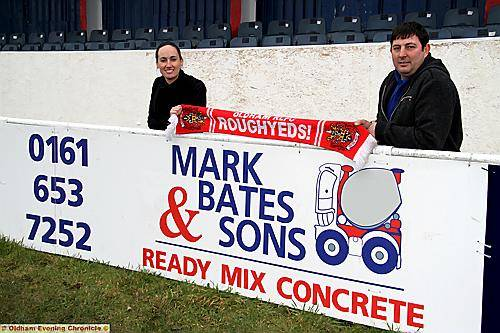 THANKS for your support. . . Roughyeds commercial manager Rachael Marsters and main sponsor Mark Bates.
