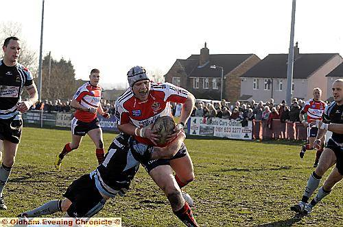 ROUGHYEDS forward Chris Clarke on his way to scoring the first try of the tie.
