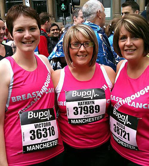 MARATHON effort... Vickie Yates (left) and Kathryn and Nicola Martin