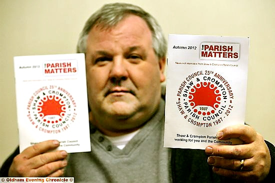 COUNCILLOR Steve Bashforth with copies of the misposted mag