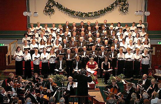 ROUSING rendition: Saddleworth Male Voice Choir and the augmented ladies chorus perform Handel�s �Messiah� last year