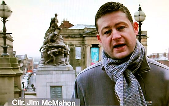 GETTING the message acrosss: council leader Jim McMahon in his video blog
