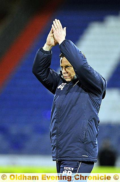 YOU DID US PROUD . . . Athletic boss Paul Dickov applauds the fans.