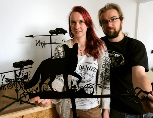 ALL our own work . . . Jenny and Richard with their distinctive Black Fox signature work
