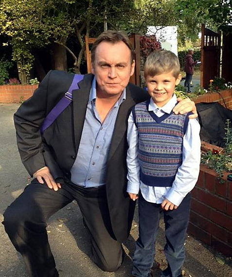 From There to Here star Philip Glenister with young actor Matthew Lowe