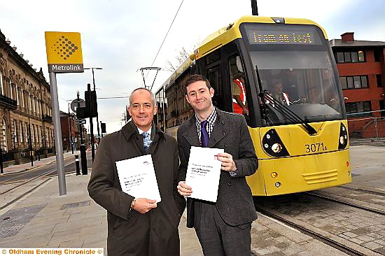ON the right track . . . Oldham Council chief executive Charlie Parker and council leader Councillor Jim McMahon (right) with the report