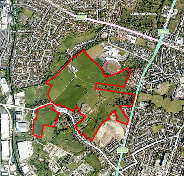 AN aerial view of the potential Foxdenton Employment Area ringed in red. Image by Digital Globe