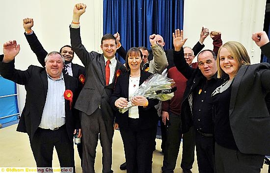WINNING candidate Councillor Marie Bashforth with her supporters.