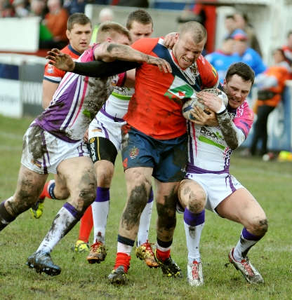 BARGING THROUGH: Josh Crowley in full flow against Gateshead Thunder.