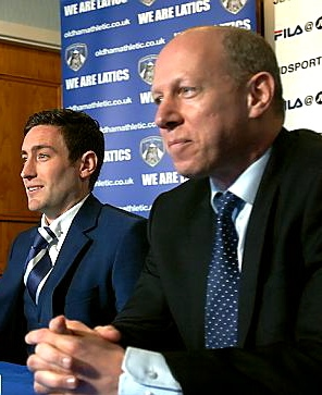 COMMON GOAL: new Athletic manager Lee Johnson (left) and club chairman Simon Corney.