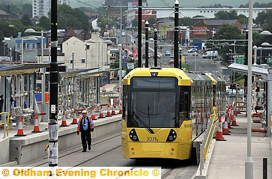 First tram tested at Oldham�s new town centre station.