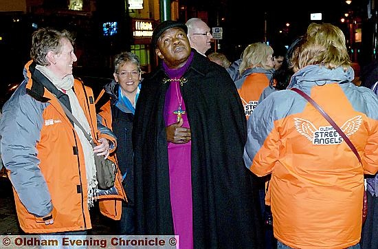 THE Archbishop of York, Dr John Sentamu visits Oldham's Yorkshire Street with Oldham's Street Angels.
