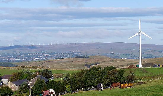 THE wind turbine off Ripponden Road, with Scout Moor wind farm above Rochdale in the background