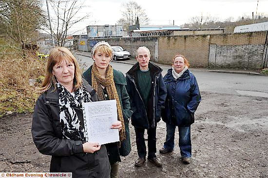ANGER: From left Shirley Moutassem, Laura Bardsley, Brian Rutherford and Kathleen Unwin, at the site of the proposed development