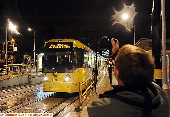 THE first tram leaves Oldham Mumps for Manchester