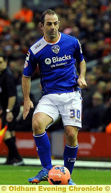 Gary Harkins made his Athletic debut in the second half at Anfield.