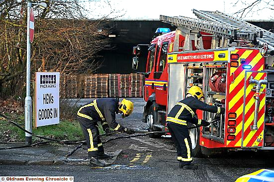 A FIRE crew at the scene of today�s incident at Ribble Packaging in Greengate Street.
