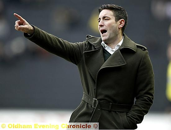 FRUSTRATION . . . Lee Johnson shows his feelings during the game at MK Dons.