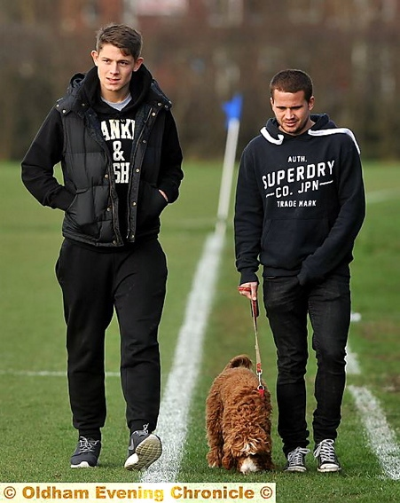 LEADING THE WAY: James Tarkowski (left) with James Wesolowski - and Weso's dog Sydney - at yesterday's reserve game. PICTURE: DARREN ROBINSON