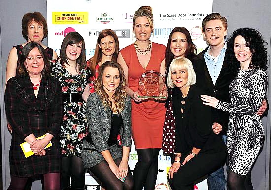 MEMBERS of the Chicago cast including Shirley Darroch (2nd left, rear), who won best supporting actress, pose with veteran Manchester comedy duo Lip Service (Maggie Fox and Sue Ryding, both far left) Picture: www.lizbakerphotos.co.uk