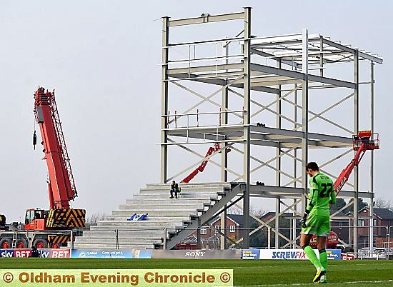 ROOM FOR ONE . . . pictured during Saturday�s home match against Brentford, the new North Stand starts to take shape.