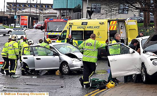 APRIL 7, 2014: ANother accident at the Waterloo Street- Rhodes Bank junction. PHOTO BY DARREN ROBINSON