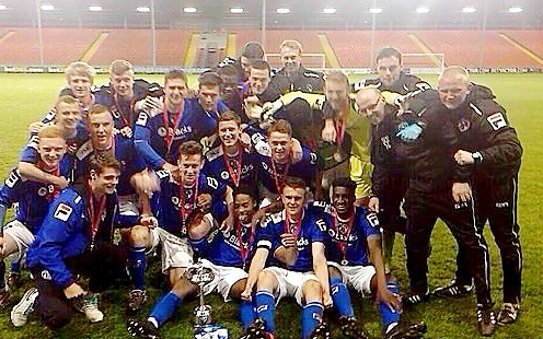 CUP OF JOY: Athletic�s under-18s celebrate their cup success.
