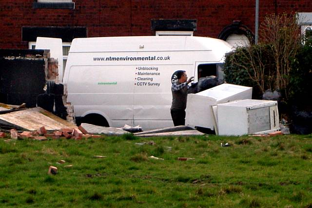 Caught in the act: fly-tippers unload their van