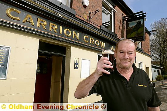 A GREAT PINT . . . Carrion Crow landlord Tony Robins