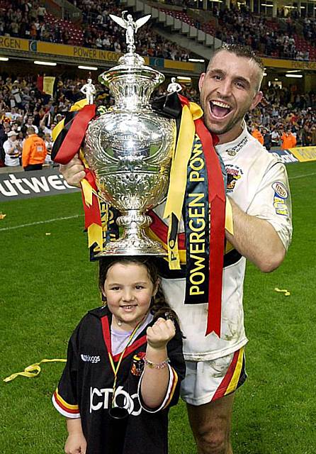 UP FOR THE CUP: Scott Naylor, pictured during his Bradford Bulls days, celebrates lifting the Challenge Cup after a 22-20 win over Leeds at the Millennium Stadium in 2003.
