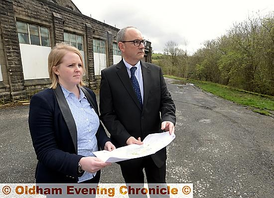 COUNCILLOR Amanda Chadderton and headteacher Matthew Milburn at the site of the new school.