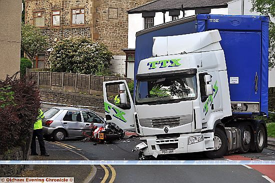 Scene of this morning�s accident at Heyside