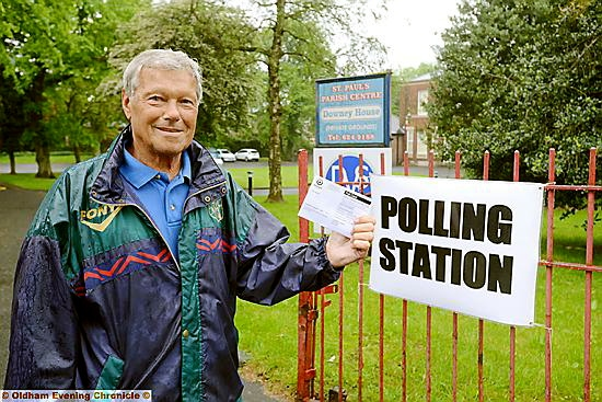 EARLY voter: Kenneth Dean outside the Downey House polling station in Royton