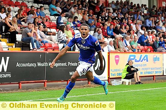 FLYING START . . . Cristian Montano celebrates his stunning goal at Stevenage.