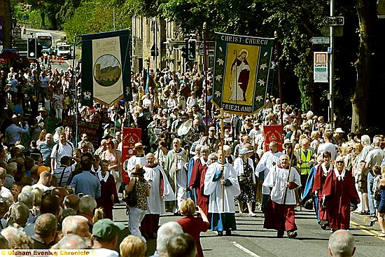 RESIDENTS lined the route as the Bishop of Manchester and local churches, including St Anne's Lydgate and Christ Church, Friezland, walked to the service in Uppermill