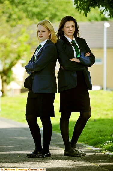 INCORRECT . . . Olivia Jobson, left, and Mia Bentley, both 12, were told these skirts were too short for school