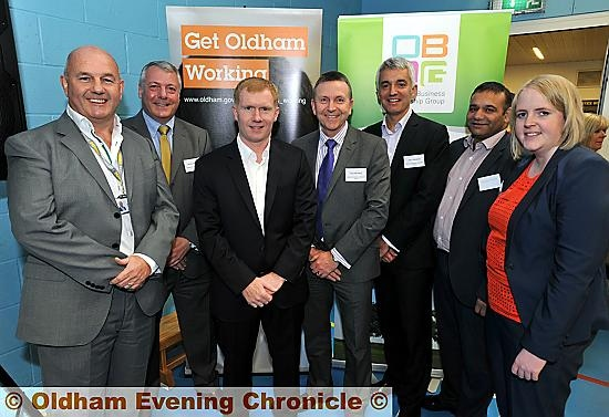 FESTIVAL launch: Paul Scholes (centre left) with (from the left) Terry Flanagan, board chairman at Mahdlo, Jeremy Broadbent, OBLG, Dave Benstead, OBLG, John Townsend, OBLG, Councillor Shoab Akhtar, Oldham Council�s cabinet member for employment and enterprise, and Councillor Amanda Chadderton, cabinet member for education and safeguarding