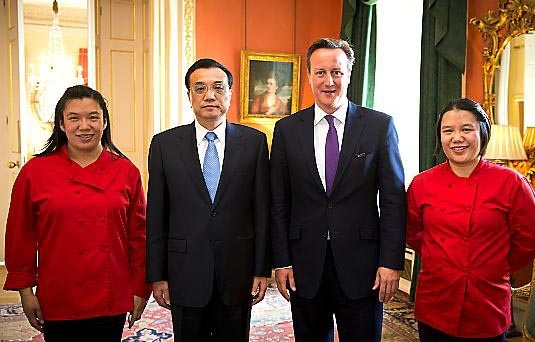 DREAM come true . . . Helen Tse, Chinese Premier Li Keqiang, Prime Minister David Cameron and Lisa Tse at Downing Street.