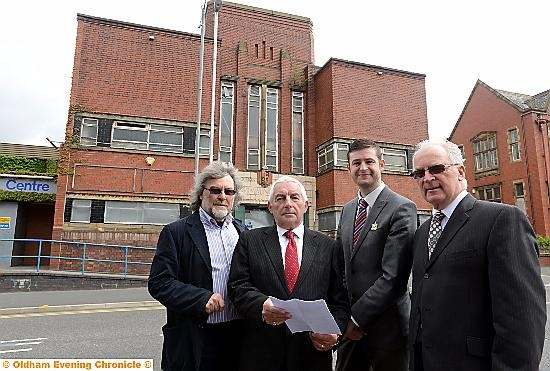Left to right: Councillors Dave Houle, Dave Hibbert, council leaderr Jim McMahon and Neil Flynn of CSDA outside the baths