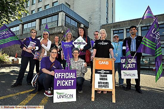 Picket line outside the Civic Centre