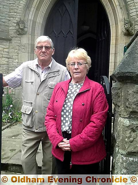 Cllr Val Sedgwick with Roy Atkinson, church warden at St Thomas the Apostle Church, Leesfield.