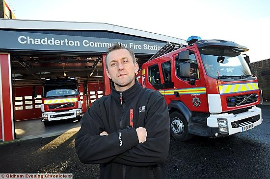 Fire Brigade Union (FBU) representative Dave German at Chadderton Fire Station.