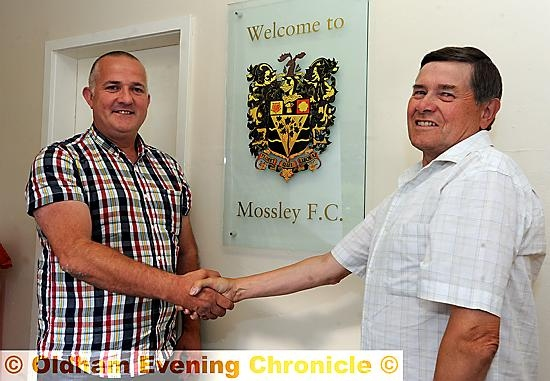 Oldham Boro FC groundshare with Mossley FC. Mark Kilgannon (left) chairman of Oldham Boro' with Mossley director Steve Tague.
